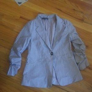 Seersucker cotton blazer